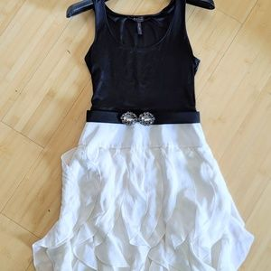 BCBGMaxazria Two-Toned Ruffled Dress with Belt